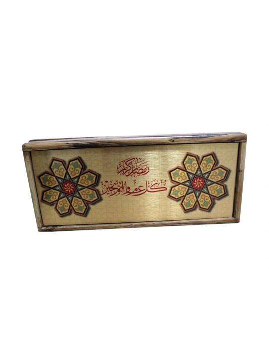 علبة الشاي من خشب الزيتون مع تصميم اسلامي لرمضان