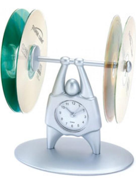 ساعة مكتبية مع حامل للاسطوانات